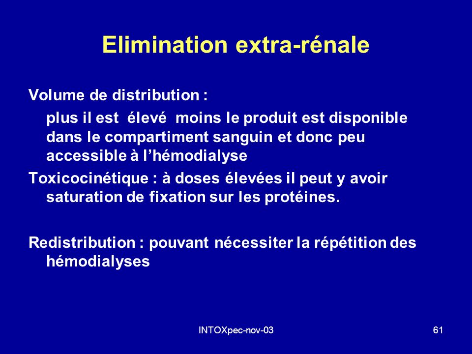 Elimination extra-rénale