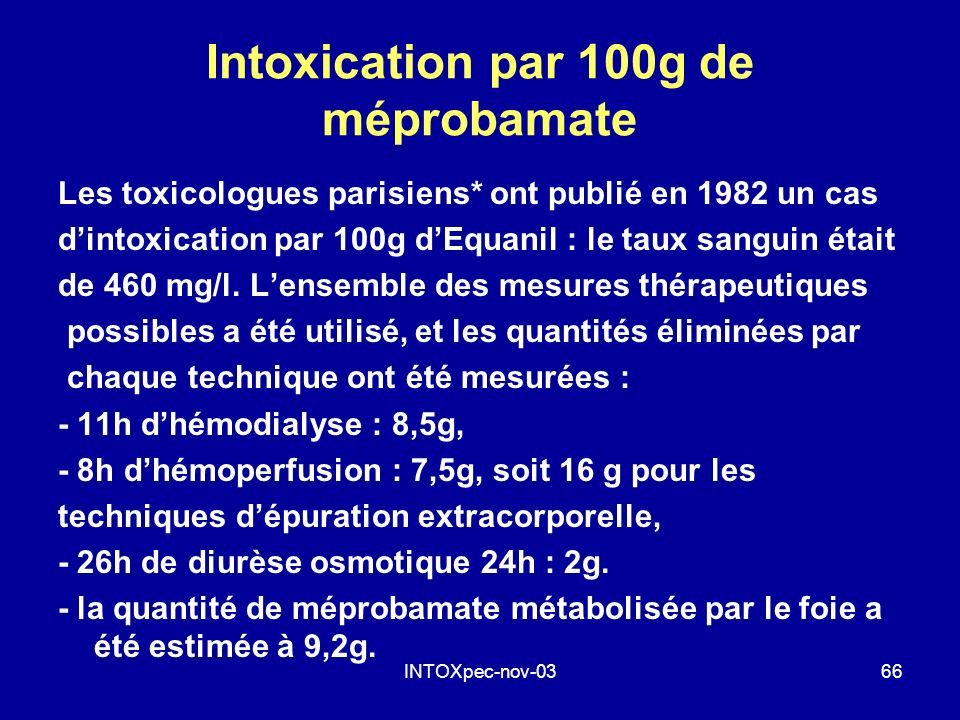 Intoxication par 100g de méprobamate