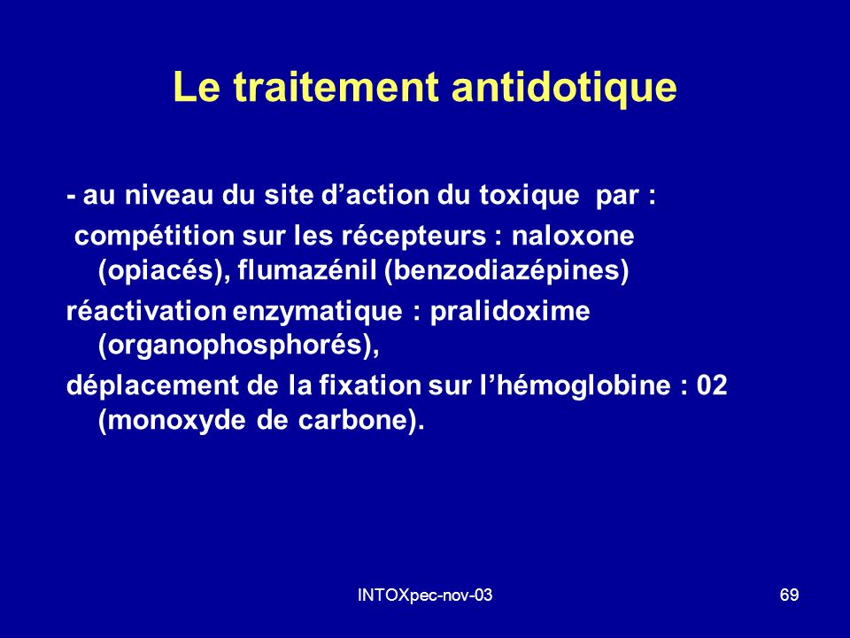 Le traitement antidotique