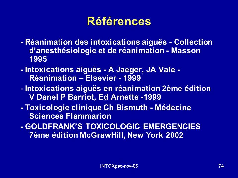 Références - Réanimation des intoxications aiguës - Collection d'anesthésiologie et de réanimation - Masson 1995.