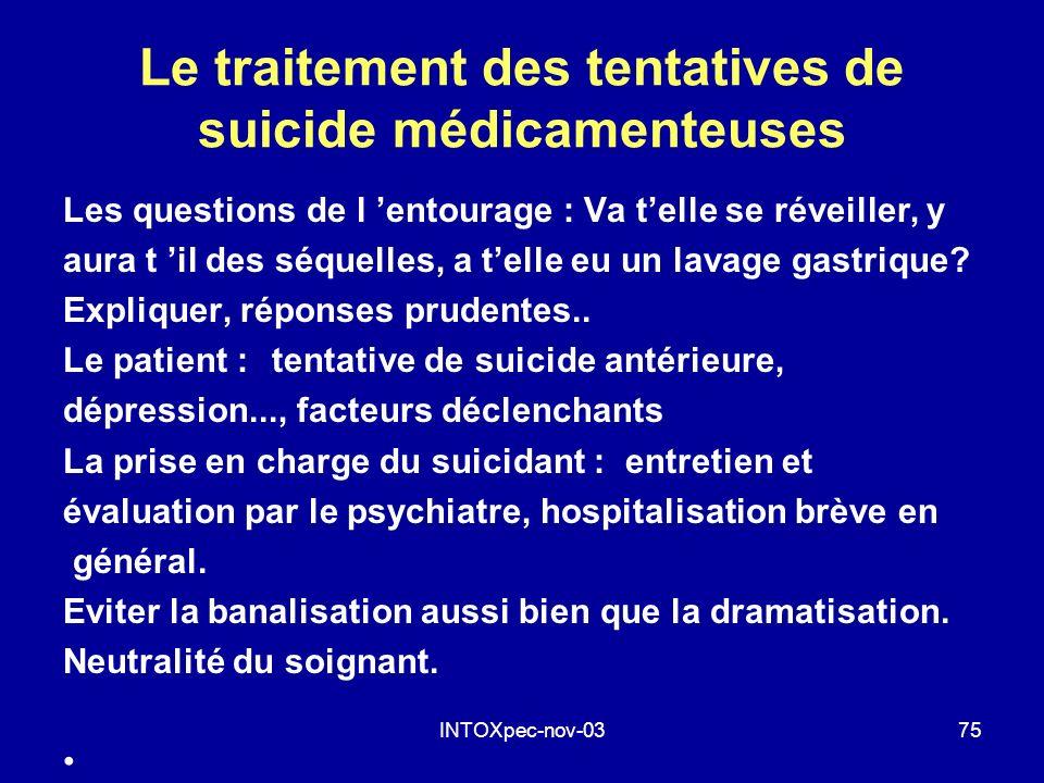 Le traitement des tentatives de suicide médicamenteuses