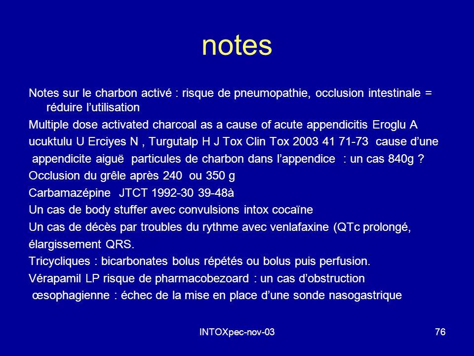 notes Notes sur le charbon activé : risque de pneumopathie, occlusion intestinale = réduire l'utilisation.