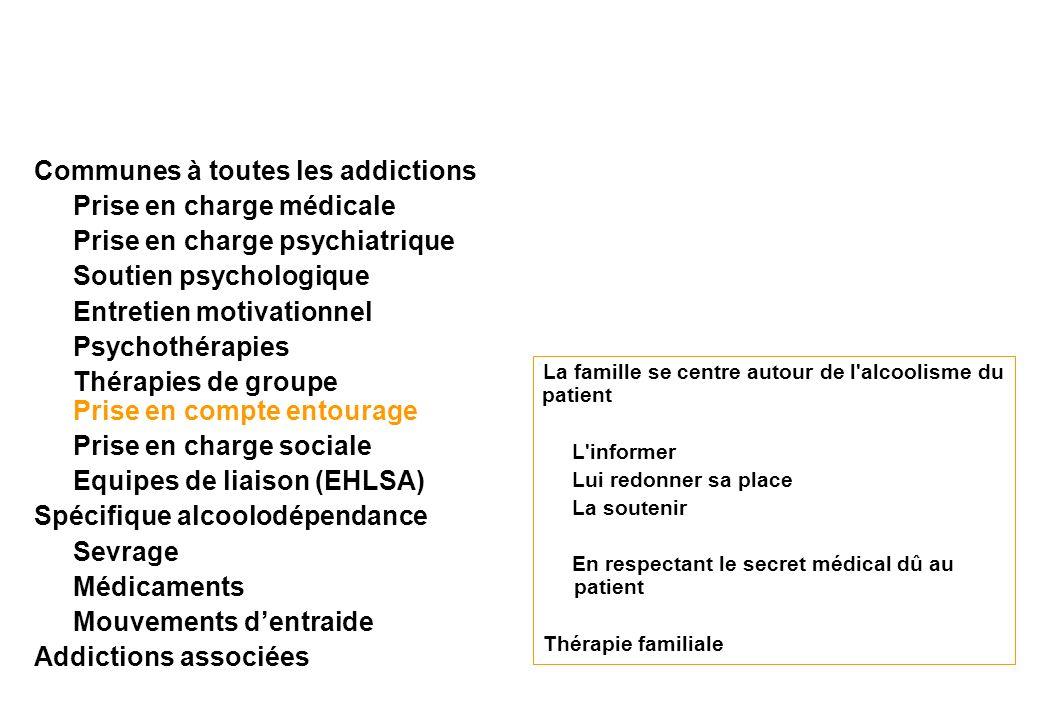 Communes à toutes les addictions Prise en charge médicale