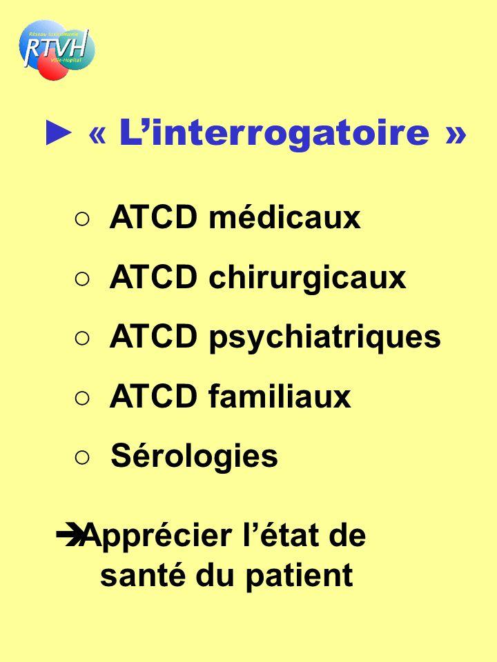 ► « L'interrogatoire » ○ ATCD médicaux ○ ATCD chirurgicaux