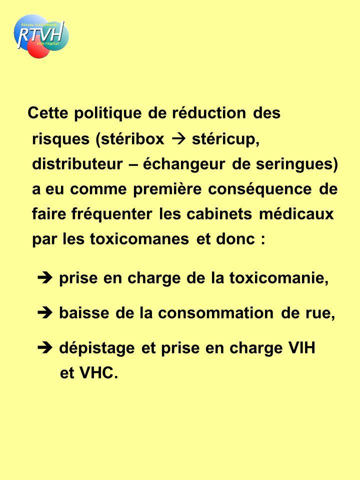 Cette politique de réduction des risques (stéribox  stéricup, distributeur – échangeur de seringues) a eu comme première conséquence de faire fréquenter les cabinets médicaux par les toxicomanes et donc :  prise en charge de la toxicomanie,  baisse de la consommation de rue,  dépistage et prise en charge VIH et VHC.