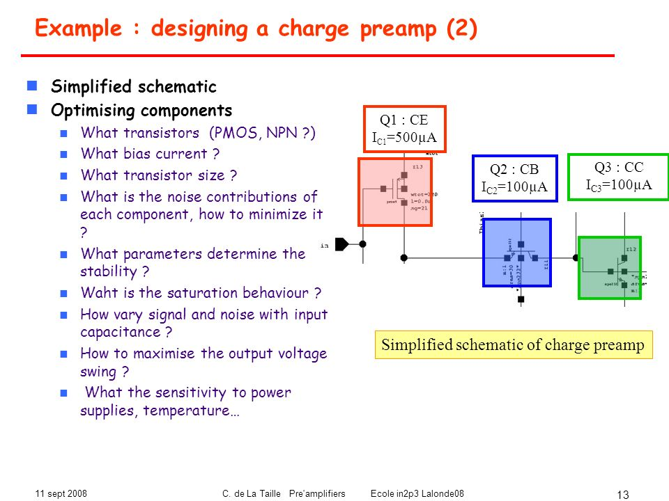 Example : designing a charge preamp (2)