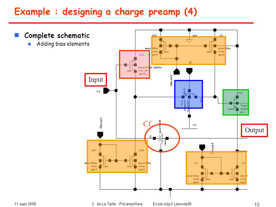 Example : designing a charge preamp (4)