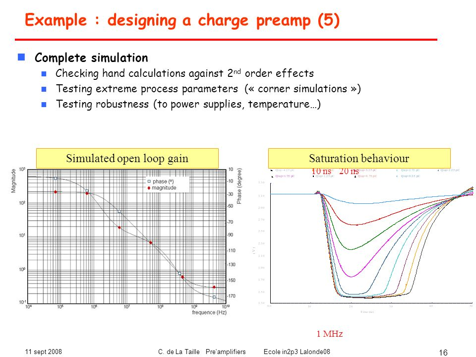 Example : designing a charge preamp (5)
