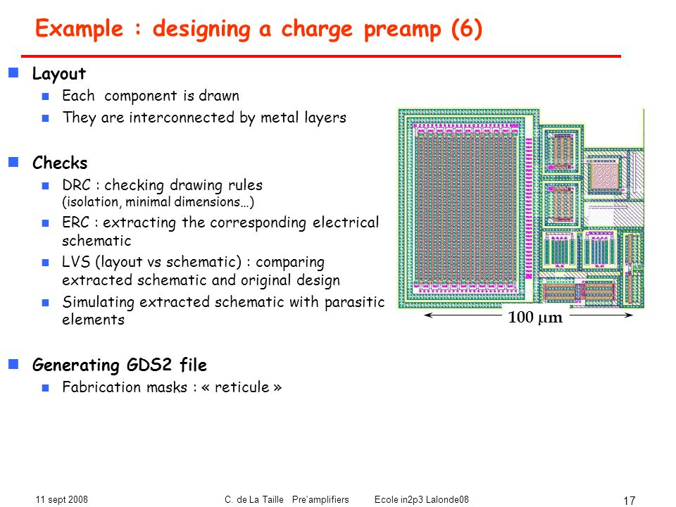 Example : designing a charge preamp (6)