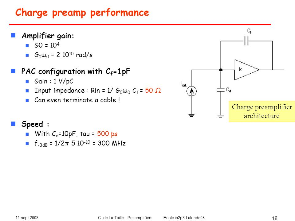Charge preamp performance
