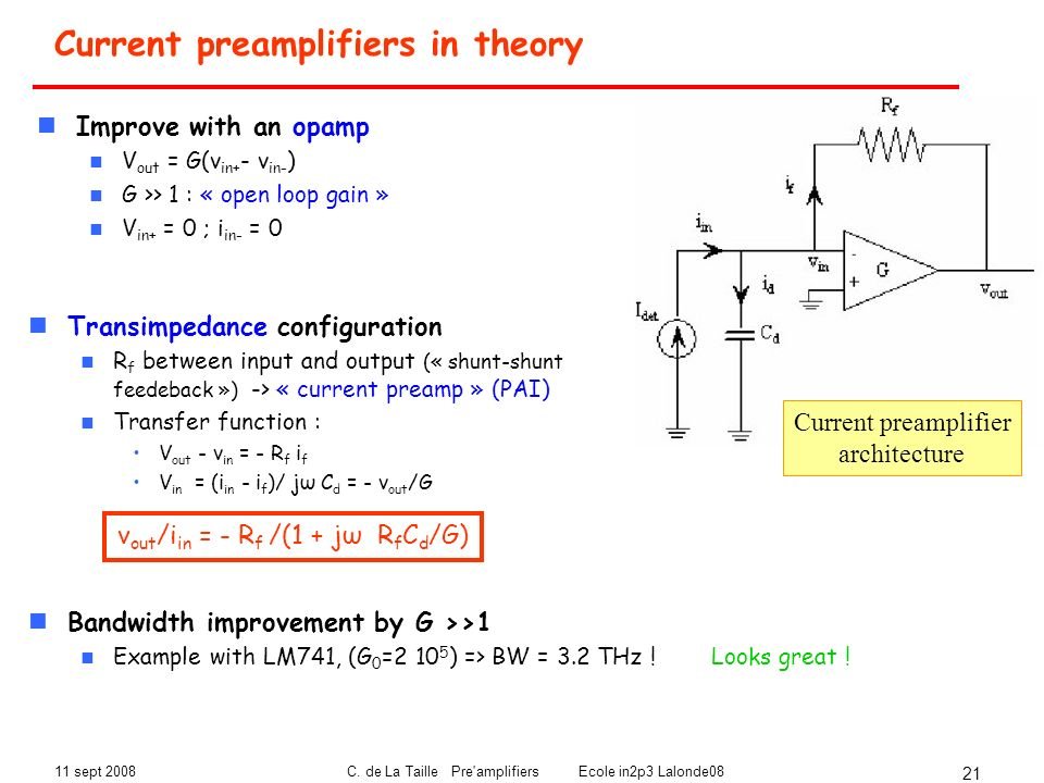 Current preamplifiers in theory