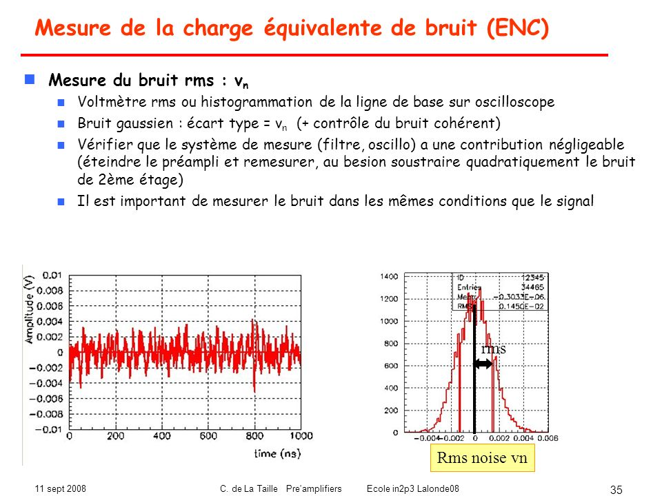 Mesure de la charge équivalente de bruit (ENC)