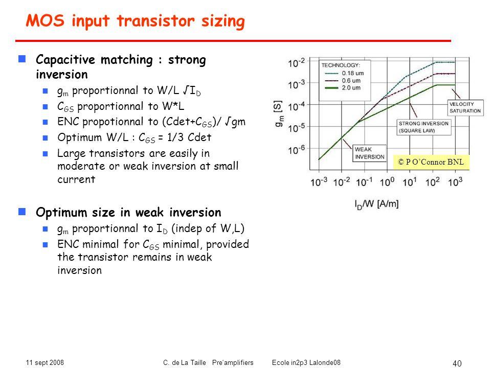 MOS input transistor sizing