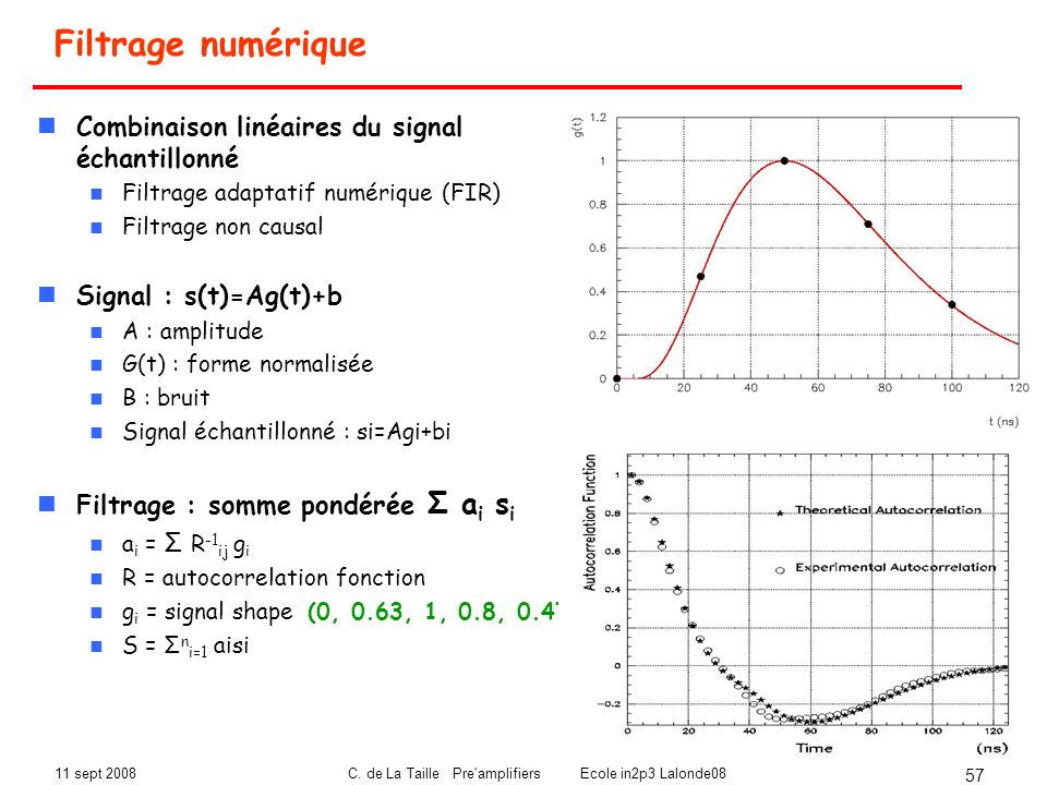 C. de La Taille Pre amplifiers Ecole in2p3 Lalonde08