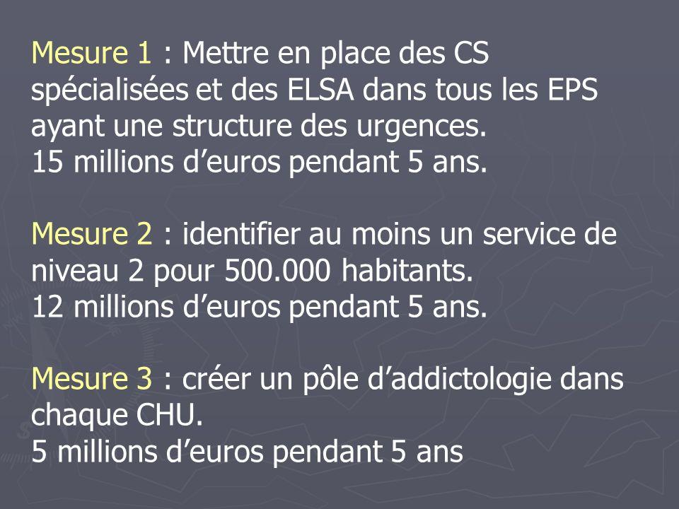 Mesure 1 : Mettre en place des CS spécialisées et des ELSA dans tous les EPS ayant une structure des urgences.
