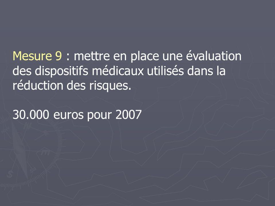 Mesure 9 : mettre en place une évaluation des dispositifs médicaux utilisés dans la réduction des risques.