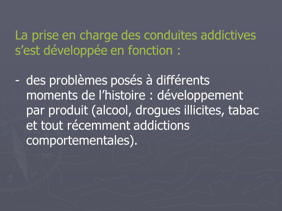 La prise en charge des conduites addictives s'est développée en fonction :