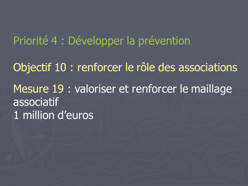 Priorité 4 : Développer la prévention