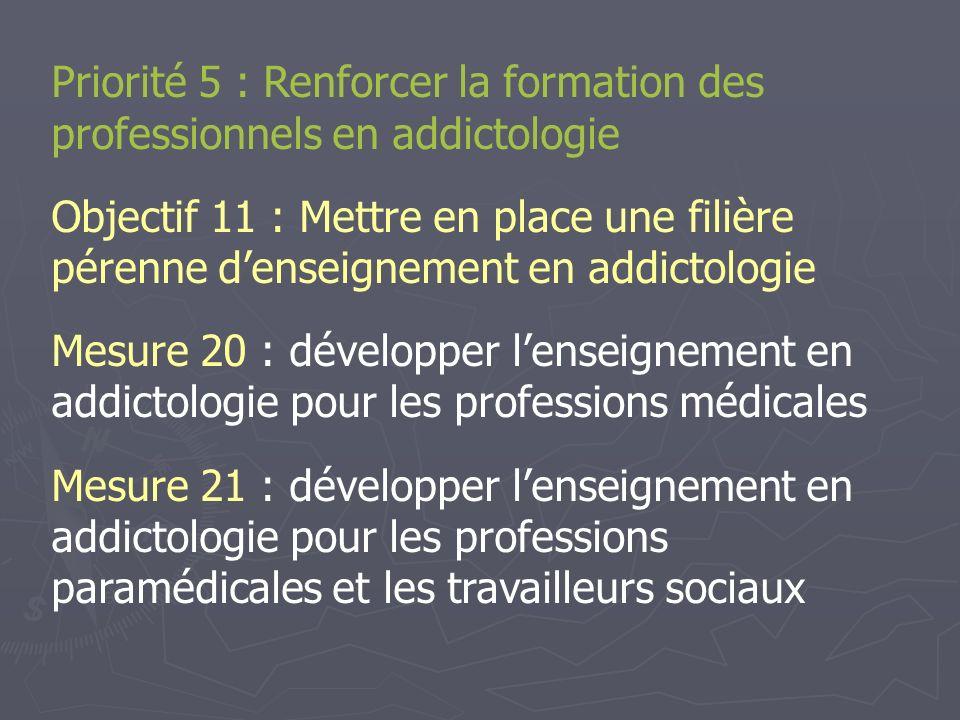 Priorité 5 : Renforcer la formation des professionnels en addictologie