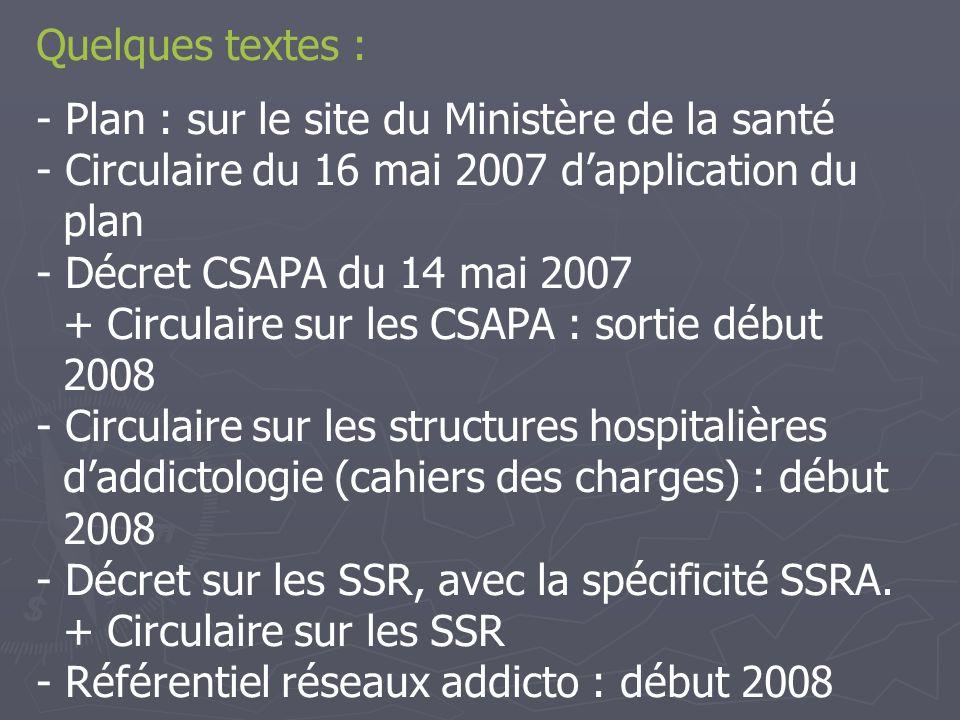 Quelques textes : Plan : sur le site du Ministère de la santé. Circulaire du 16 mai 2007 d'application du.
