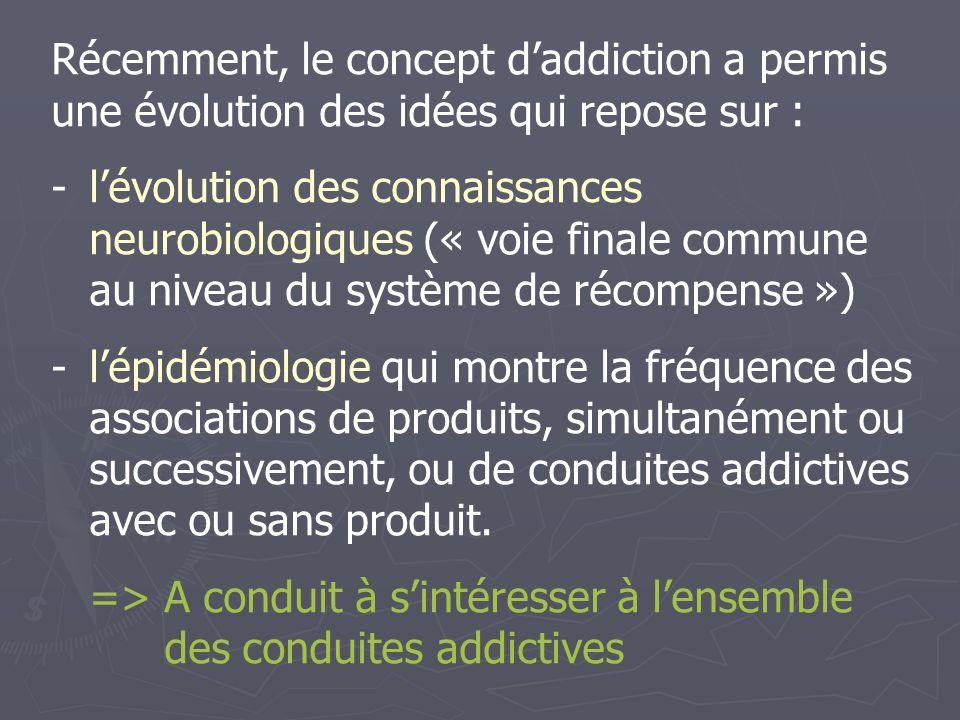 Récemment, le concept d'addiction a permis une évolution des idées qui repose sur :