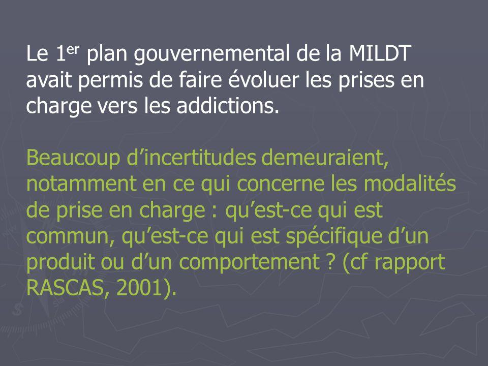 Le 1er plan gouvernemental de la MILDT avait permis de faire évoluer les prises en charge vers les addictions.