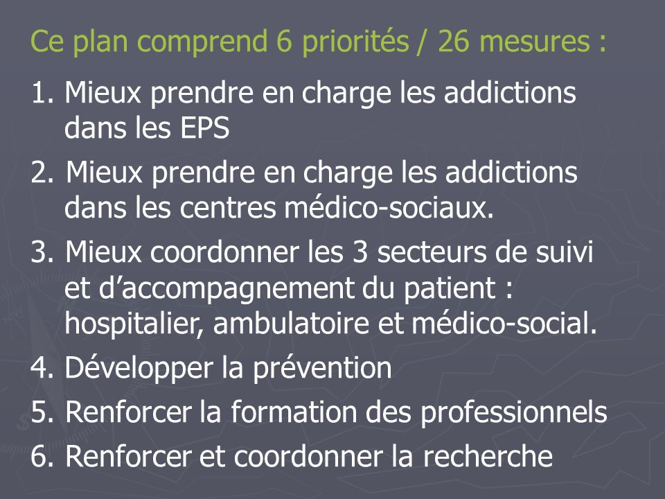 Ce plan comprend 6 priorités / 26 mesures :