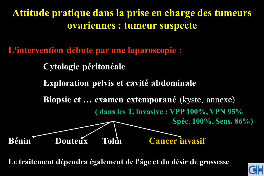 Attitude pratique dans la prise en charge des tumeurs ovariennes : tumeur suspecte