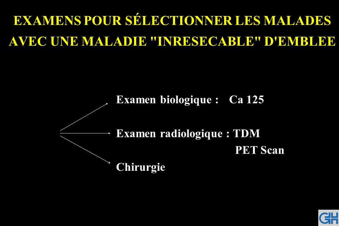 EXAMENS POUR SÉLECTIONNER LES MALADES AVEC UNE MALADIE INRESECABLE D EMBLEE