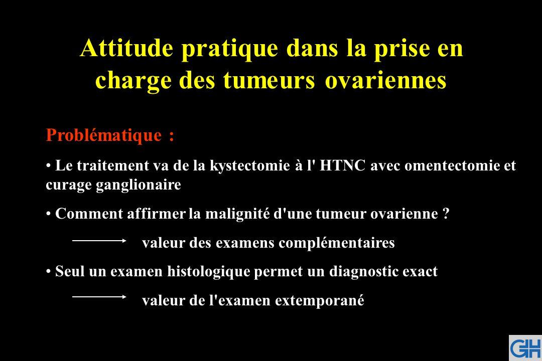 Attitude pratique dans la prise en charge des tumeurs ovariennes