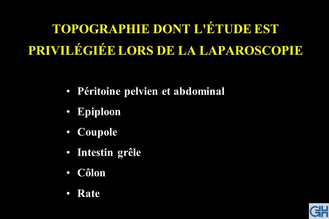 TOPOGRAPHIE DONT L ÉTUDE EST PRIVILÉGIÉE LORS DE LA LAPAROSCOPIE