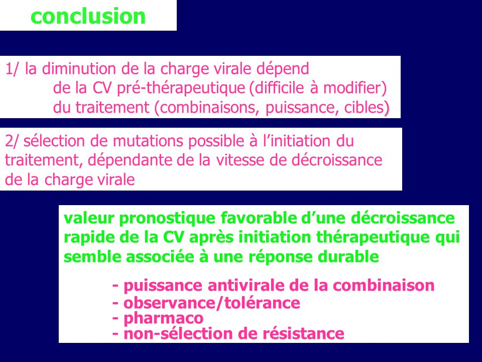 conclusion 1/ la diminution de la charge virale dépend