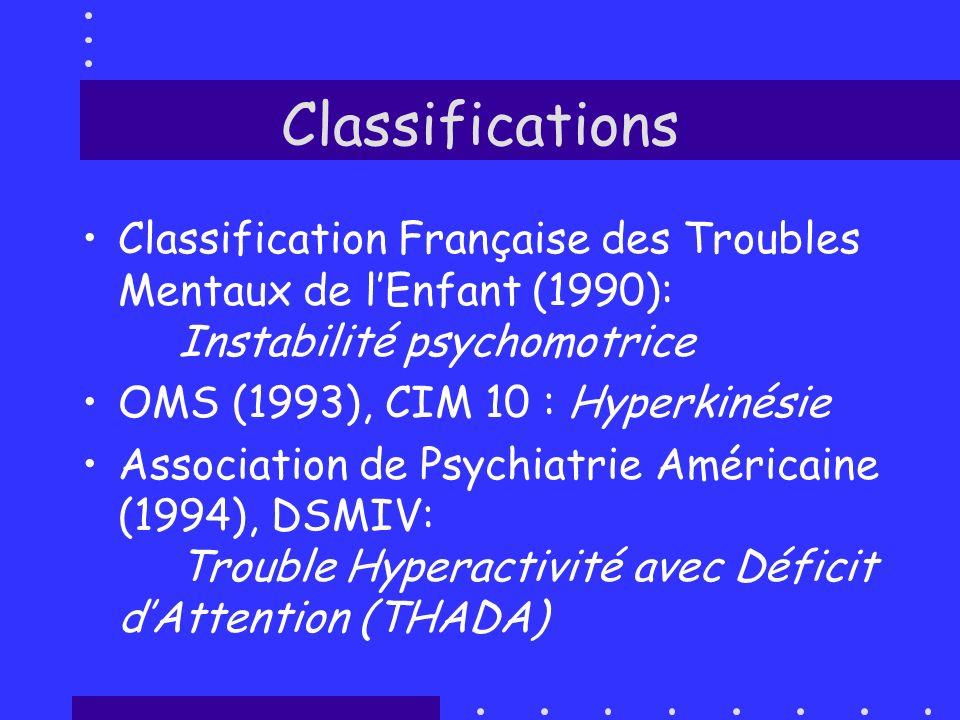 Classifications Classification Française des Troubles Mentaux de l'Enfant (1990): Instabilité psychomotrice.