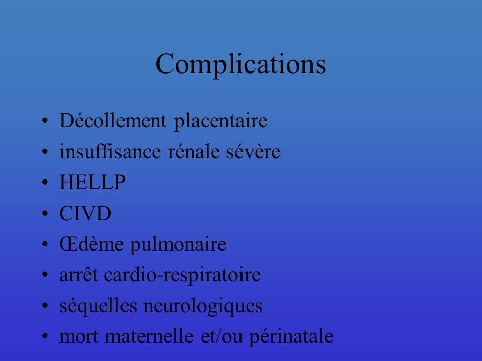 Complications Décollement placentaire insuffisance rénale sévère HELLP
