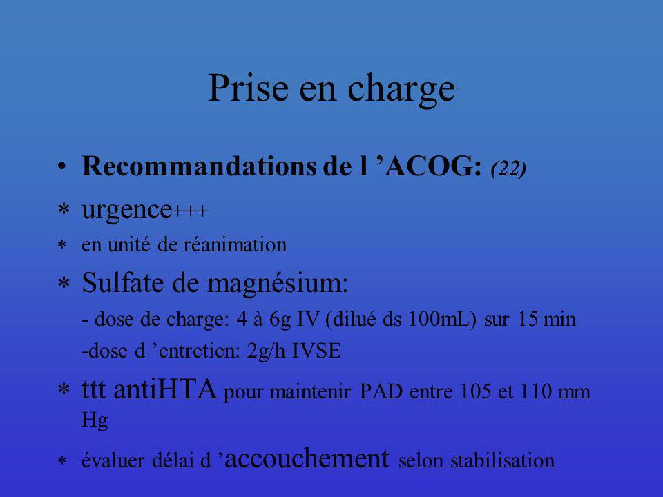 Prise en charge Recommandations de l 'ACOG: (22) urgence+++