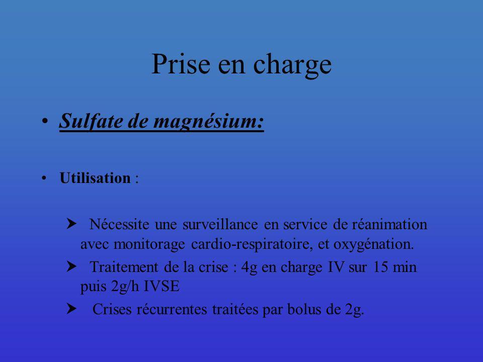 Prise en charge Sulfate de magnésium: Utilisation :