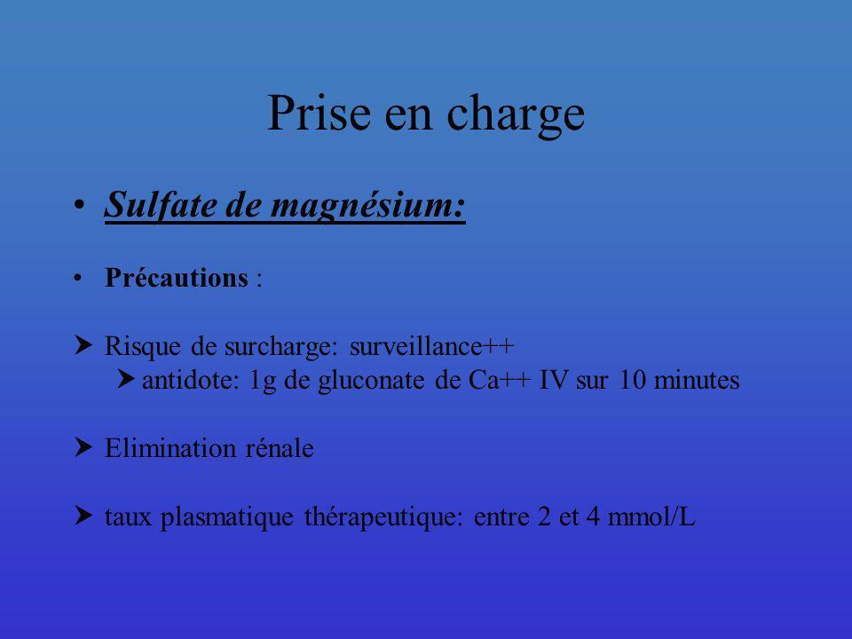 Prise en charge Sulfate de magnésium: Précautions :