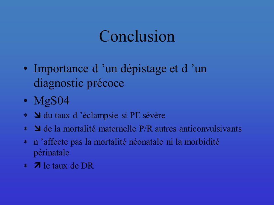 Conclusion Importance d 'un dépistage et d 'un diagnostic précoce