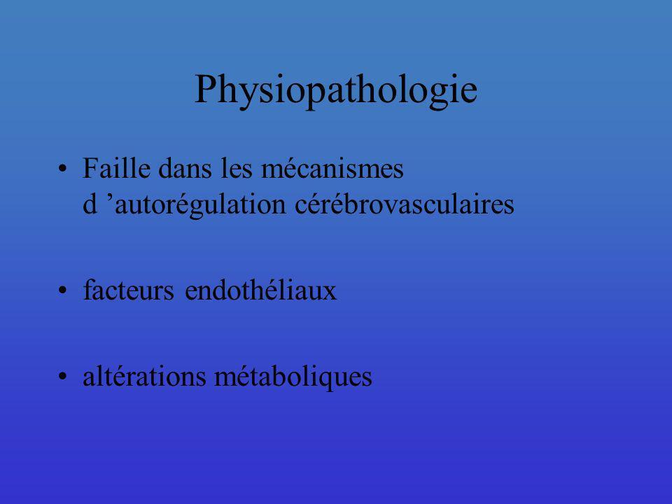 Physiopathologie Faille dans les mécanismes d 'autorégulation cérébrovasculaires. facteurs endothéliaux.