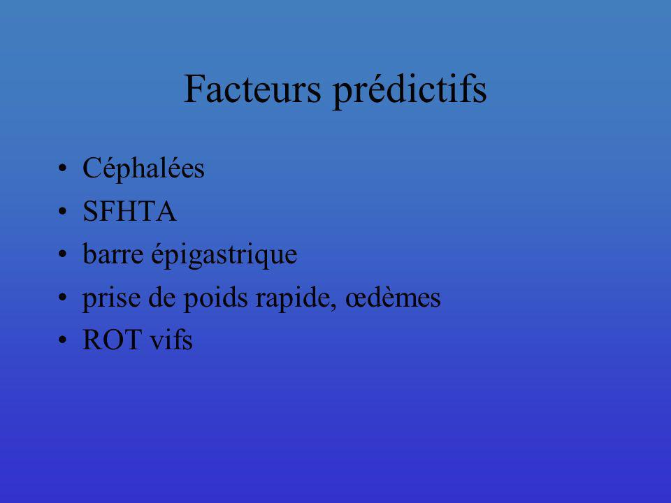 Facteurs prédictifs Céphalées SFHTA barre épigastrique