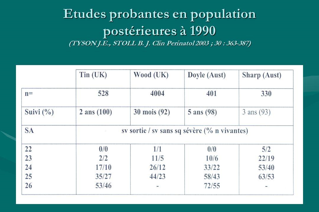 Etudes probantes en population postérieures à 1990 (TYSON J. E