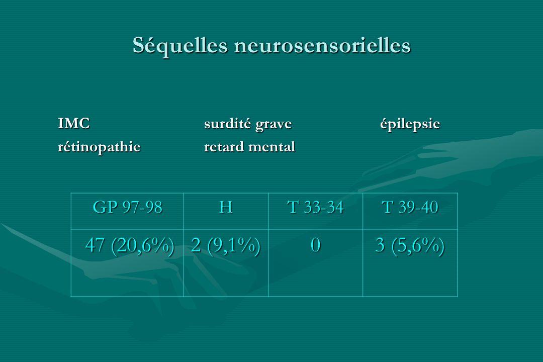Séquelles neurosensorielles