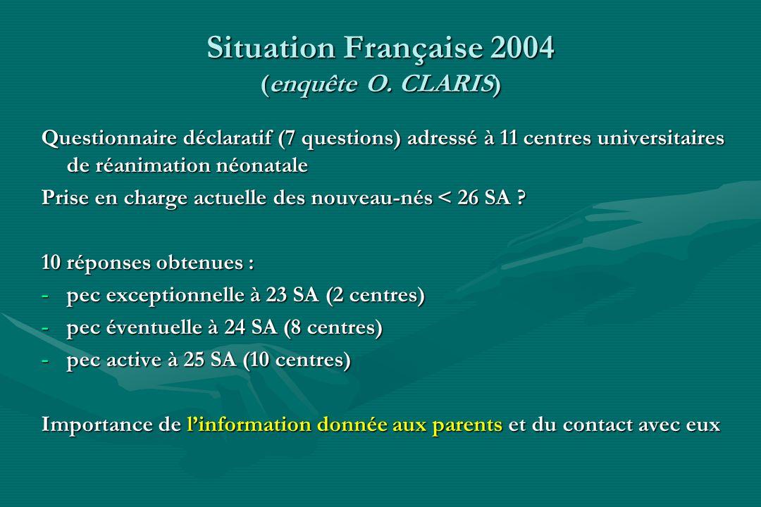 Situation Française 2004 (enquête O. CLARIS)