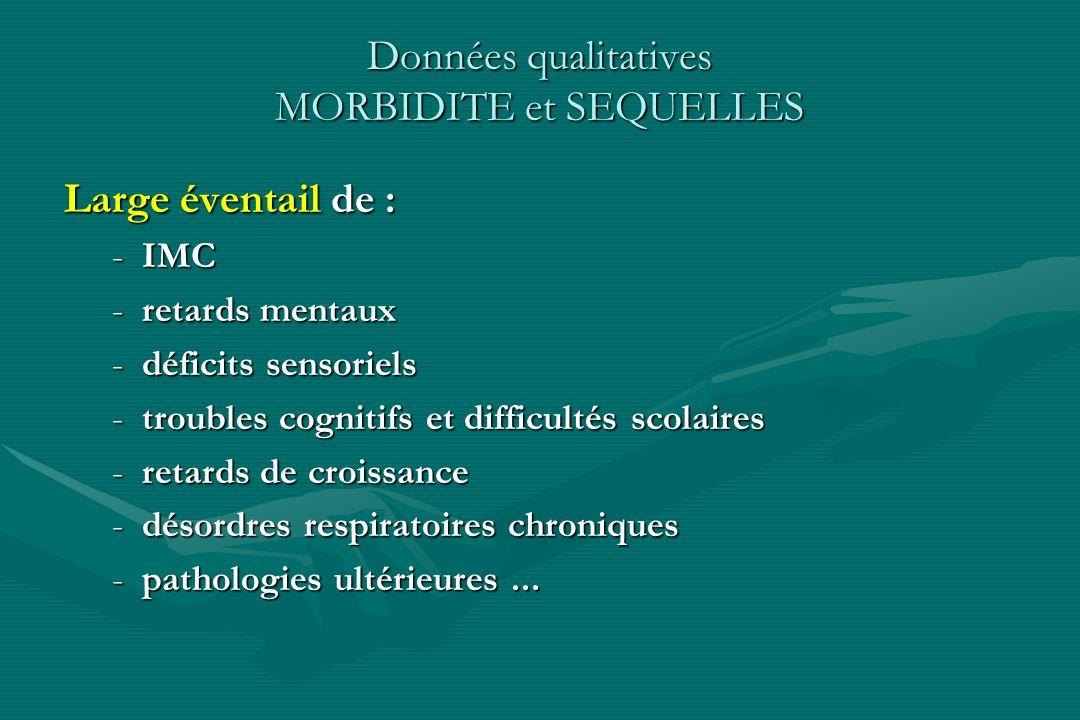 Données qualitatives MORBIDITE et SEQUELLES