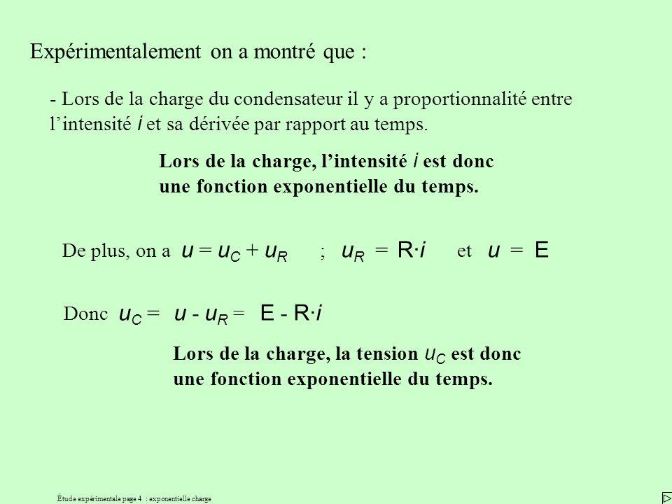 Étude expérimentale page 4 : exponentielle charge