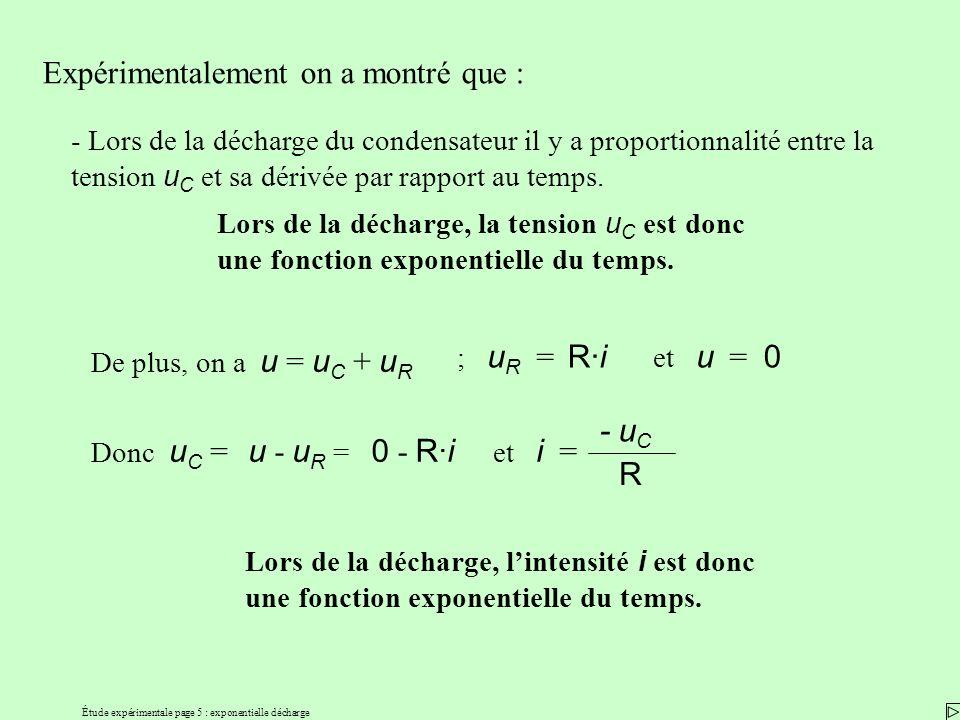 Étude expérimentale page 5 : exponentielle décharge