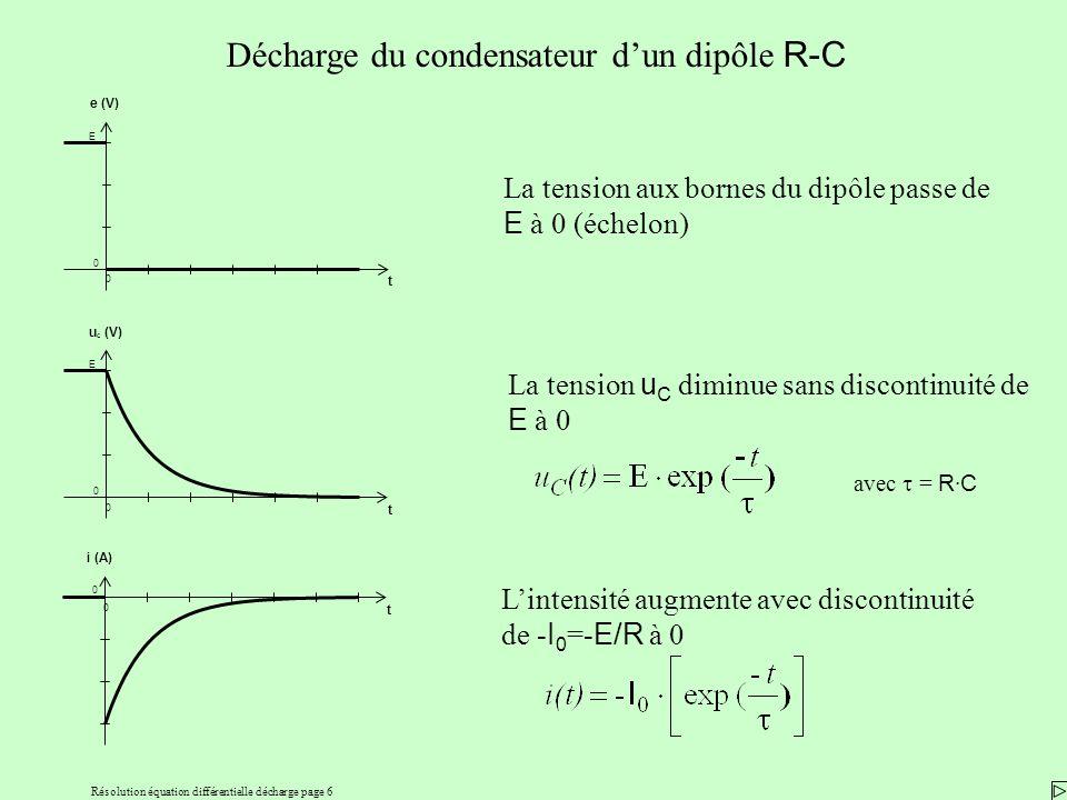 Résolution équation différentielle décharge page 6