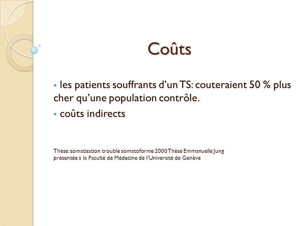 Coûts les patients souffrants d'un TS: couteraient 50 % plus cher qu'une population contrôle. coûts indirects.