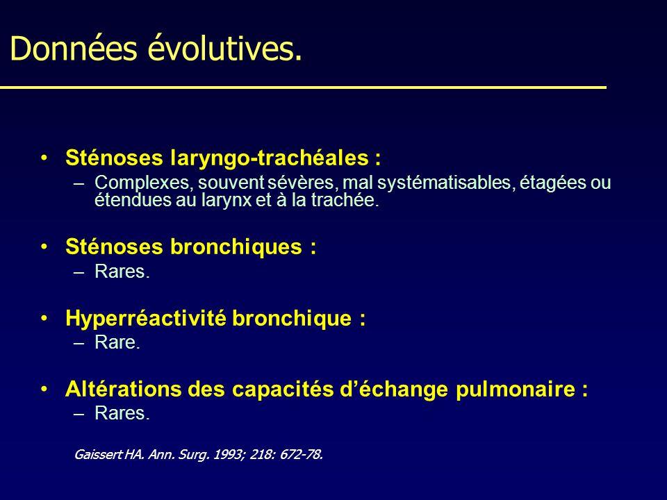 Données évolutives. Sténoses laryngo-trachéales :