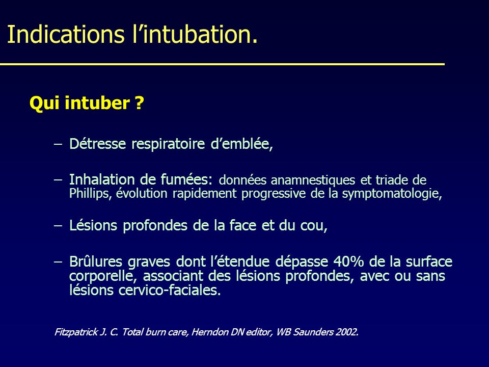 Indications l'intubation.